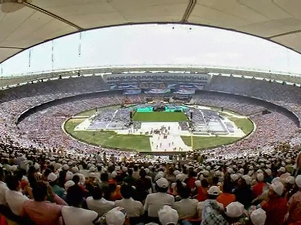 A view of the crowd-packed Motera Stadium during the 'Namaste Trump' event, in Ahmedabad, Gujarat