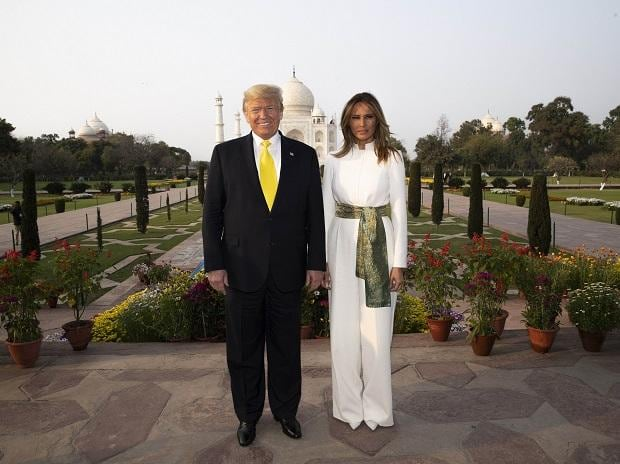President Donald Trump, with first lady Melania Trump, pause as they tour the Taj Mahal, Monday, Feb. 24, 2020, in Agra, India | (AP/PTI)