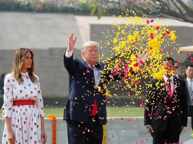 US President Donald Trump, First Lady of the US Melania Trump visits Rajghat to pay homage to Mahatma Gandhi
