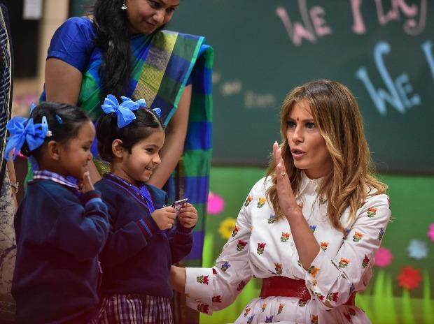 Melania Trump interacts with students and teachers at Sarvodaya Co-Ed Senior Secondary School