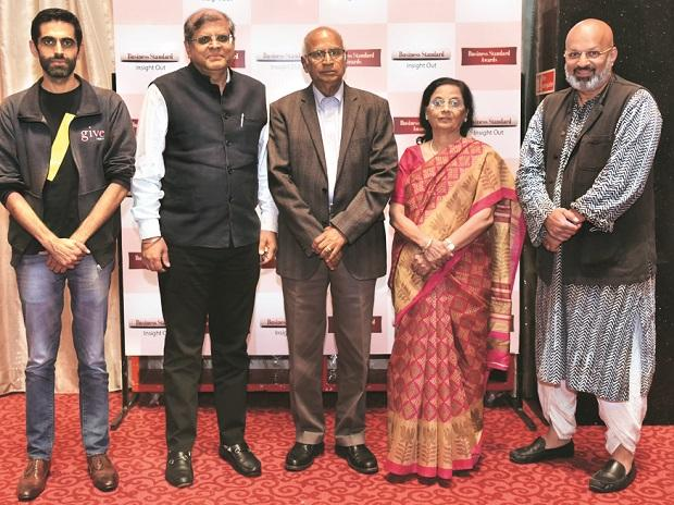 (From left) GiveIndia Director & CEO Atul Satija, Bain Capital Private Equity Chairman Amit Chandra, Tata Institute of Social Sciences Chairman  S Ramadorai (chairman of the jury), Pratham Co-founder Farida Lambay, and Indian School of Public Policy