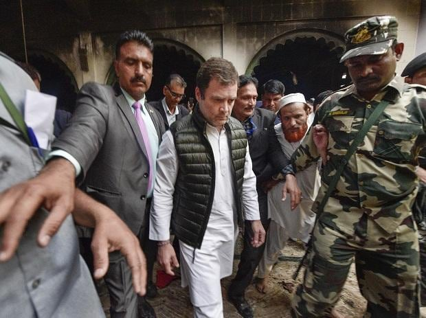 New Delhi: Congress leader Rahul Gandhi inside a mosque during his visit to Brijpuri, one of the riot-affected areas in North-East Delhi, Wednesday, March 4, 2020. (PTI Photo/Vijay Verma)
