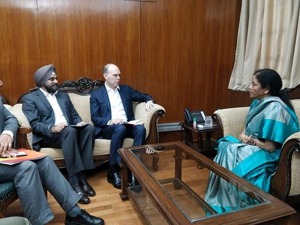Vodafone CEO Nick Read in a meeting with Finance Minister Nirmala Sitharaman on 6 March 2020 | Photo: @nsitharamanoffc