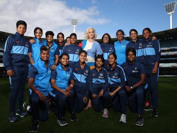 Katy Perry with India women's cricket team at MCG ahead of India vs Australia final