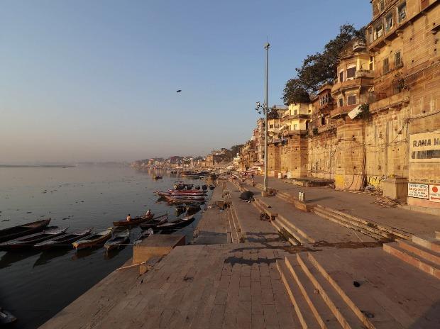 A view of deserted Rana Mahal Ghat of River Ganga in the wake of coronavirus pandemic, in Varanasi