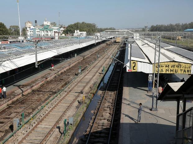 A deserted railway station following cancellation of trains in the wake of coronavirus pandemic, in Jammu