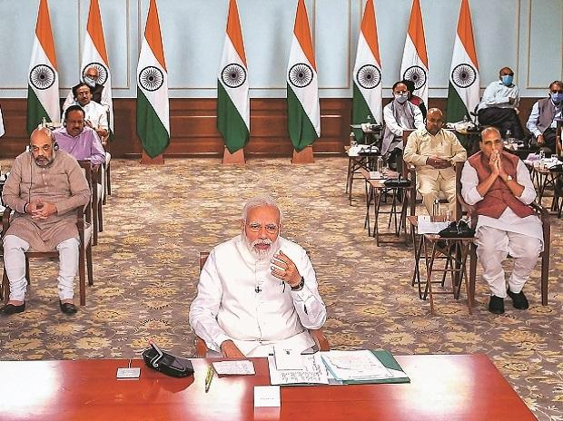 PM Modi wears home-made mask at video-conference with CMs