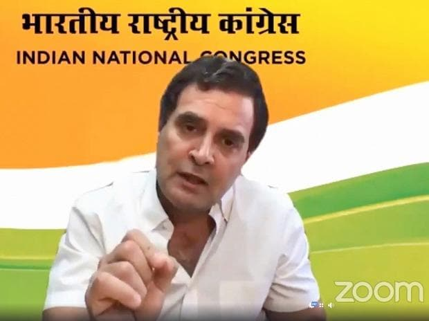 Congress leader Rahul Gandhi addresses a press conference on COVID-19 via video link in New Delhi