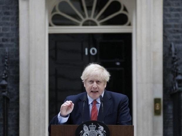 London: British Prime Minister Boris Johnson makes a statement on his first day back at work in Downing Street, London, after recovering from a bout with the coronavirus that put him in intensive care, Monday, April 27, 2020. AP/PTI