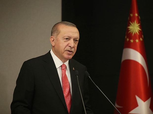 Turkish President Recep Tayyip Erdogan, talks during a televised address to the nation following a cabinet teleconference meeting, in Istanbul. Photo: PTI