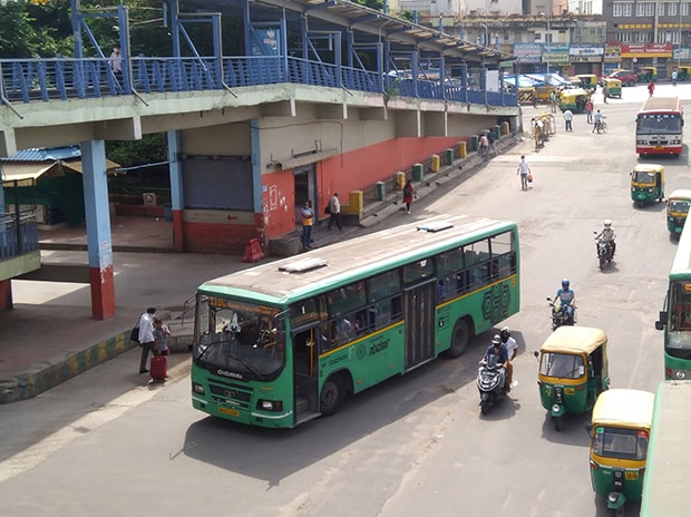 BMTC buses resuming operations in Bengaluru. Photo: Saggere Radhakrishna