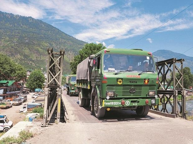 INDIAN army trucks, border, LAC, china, ladakh