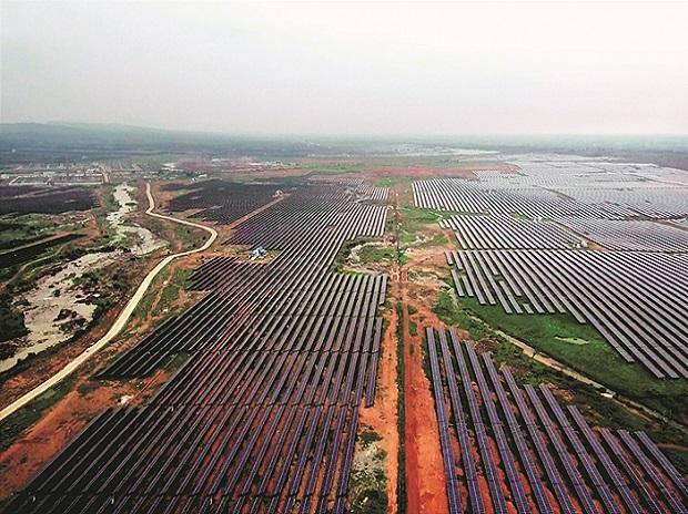 An aerial view of the solar power plant in Rewa (Photo: PTI)