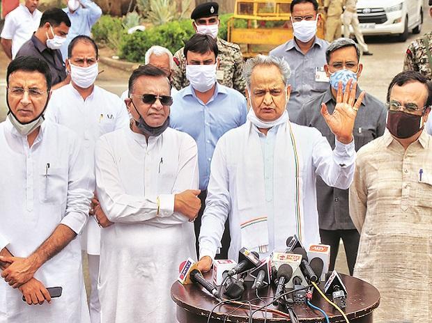 Rajasthan CM Ashok Gehlot, Congress leaders Randeep Surjewala, Avinash Pandey, Ajay Maken