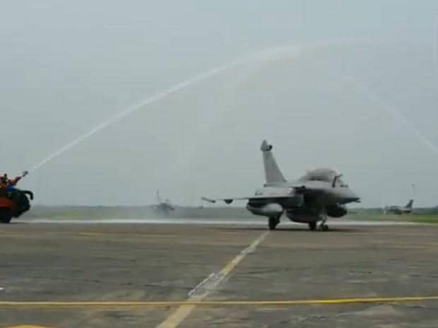 Water salute given to the five Rafale fighter aircraft after their landing at Indian Air Force airbase in Ambala, Haryana