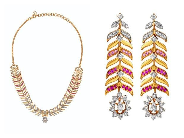 Tanishq's Aarambh collection is a combination of diamond and ruby set in gold with floral designs