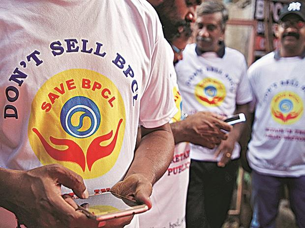 bpcl, workers, trade unions, protest, psu sale, ...