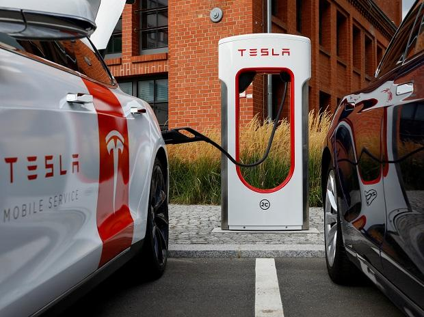 A Tesla car is seen at the V3 supercharger equipment during the presentation of the new charge system in the EUREF campus in Berlin, Germany. Photo: Reuters