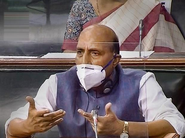 Defence Minister Rajnath Singh in the Lok Sabha during the opening day of Parliaments Monsoon Session, amid the ongoing coronavirus pandemic, at Parliament House in New Delhi, Monday, Sept. 14, 2020. (LSTV/PTI Photo)