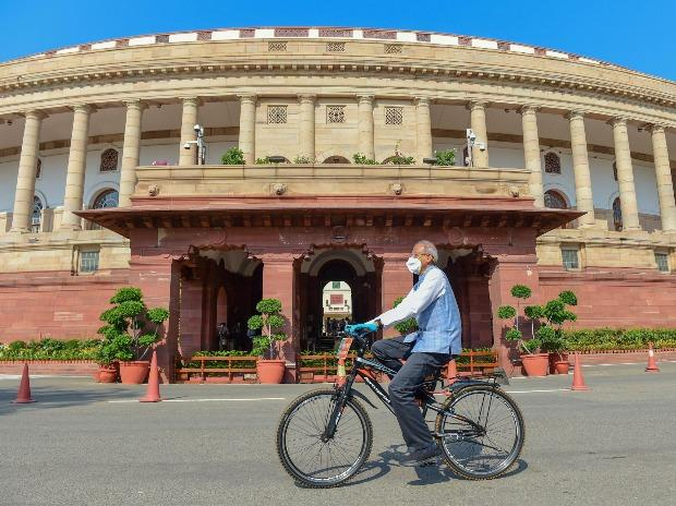 BJP MP Vikas Mahatme arrives during the ongoing Monsoon Session of Parliament, amid the coronavirus pandemic, in New Delhi