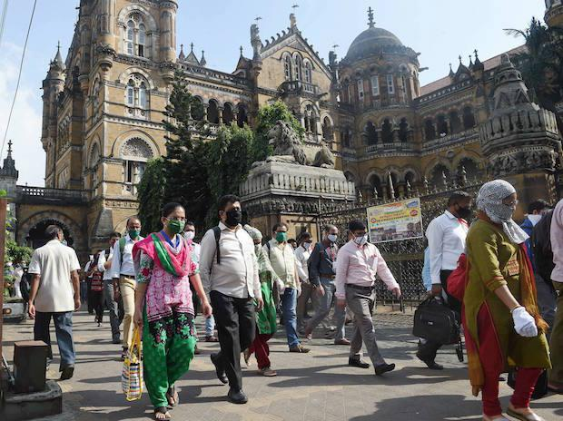 Mumbai: People walk outside CSMT during Unlock 4, at Bhaucha Dhakka in Mumbai, Wedesday, Sept. 30, 2020 (PTI Photo/Kunal Patil)