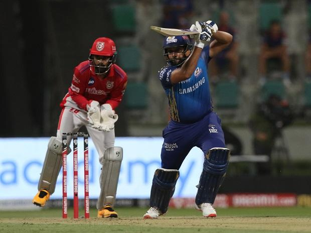 Rohit Sharma plays a shot during KXIP vs MI match at the Sheikh Zayed Stadium, Abu Dhabi in the United Arab Emirates on the 1st October 2020. Photo: Sportzpics for BCCI