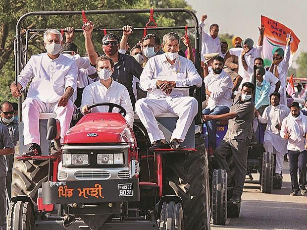 rahul gandhi, farmers, tractor, protests, congress
