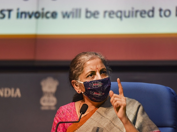 Union Finance Minister Nirmala Sitharaman addresses a press conference, in New Delhi, Monday, Oct. 12, 2020.