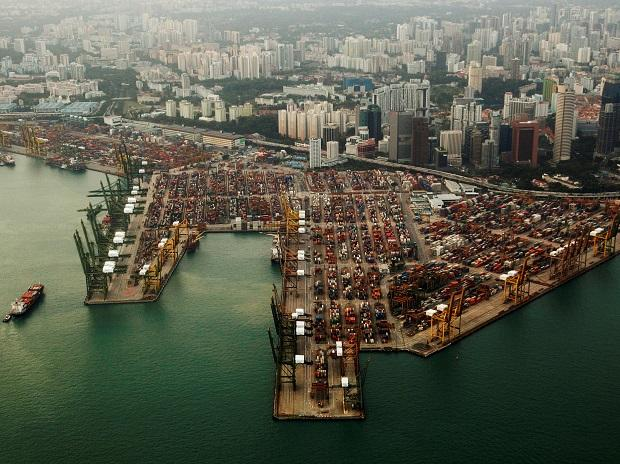 An aerial view of shipping containers stacked at the port of Singapore. Photo: Reuters