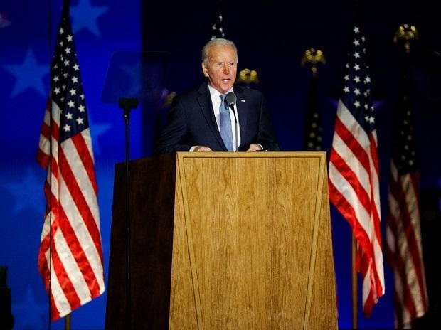 Joe Biden delivers early results remarks from the 2020 U.S. presidential election in Wilmington, Delaware. Photo: Reuters
