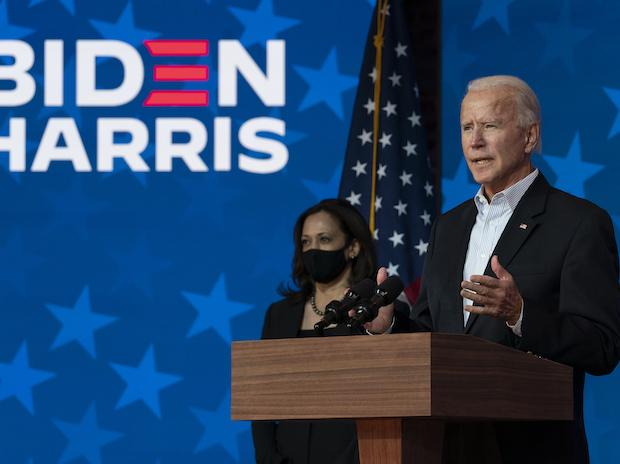 Democratic presidential candidate Joe Biden joined by Sen. Kamala Harris, speaks at the The Queen theater Thursday, Nov. 5, 2020, in Wilmington, Del. (AP Photo/Carolyn Kaster)