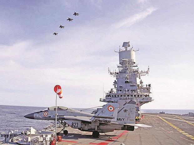 Malabar Exercise 2020, DEFENCE, SPENDING, MILITARY, ACQUISITION, MANUFACTURING, war, military, air operations, mig 29ks, INS Vikramaditya, Indian Navy
