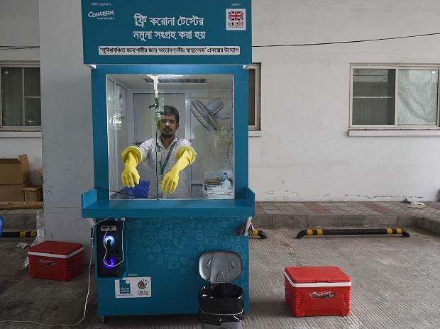 An employee of the Mugda Medical College and Hospital in Dhaka. Photo: AFP/Getty Images