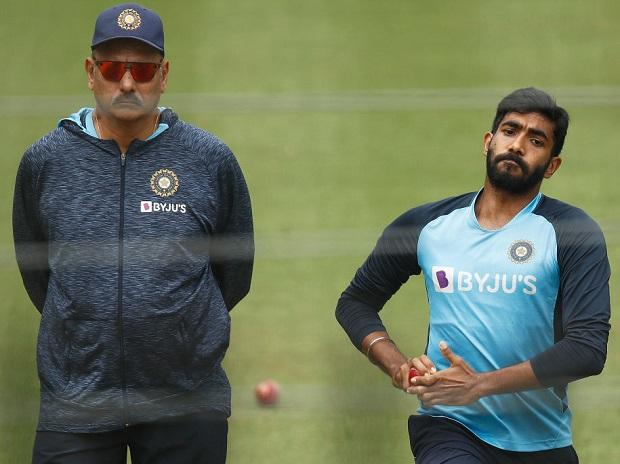 Ravi Shastri and Jasprit Bumrah during the practice session. Photo: @BCCI