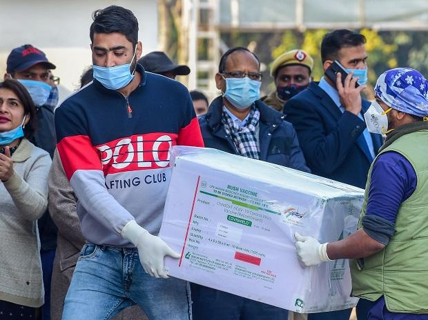 New Delhi: The first batch of Covishield vaccine reaches central storage facility at Rajiv Gandhi Super Specialty hospital in New Delhi, Tuesday, Jan. 12, 2021. (PTI Photo/ Kamal Kishore)