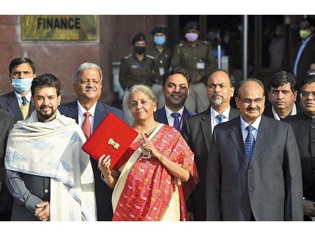 Finance Minister Nirmala Sitharaman holds a folder case containing a tablet with files of the Union Budget 2021-22 on itPhoto: PTI