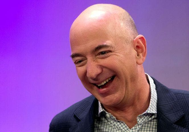 Amazon's Jeff Bezos speaks at a conference in New York City, US
