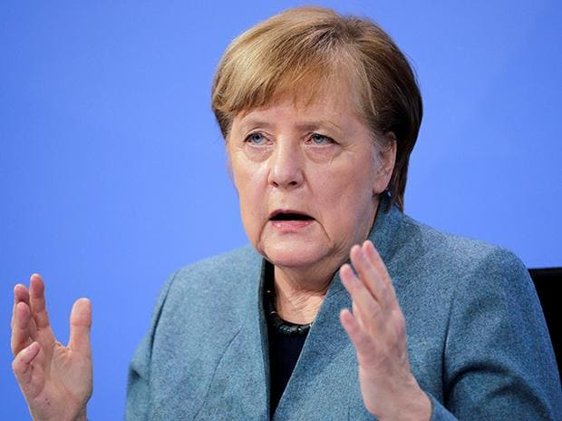 German Chancellor Angela Merkel holds a news conference after meeting with vaccine producers and Germany's state prime ministers via video conference, in Berlin, Germany. Photo: PTI