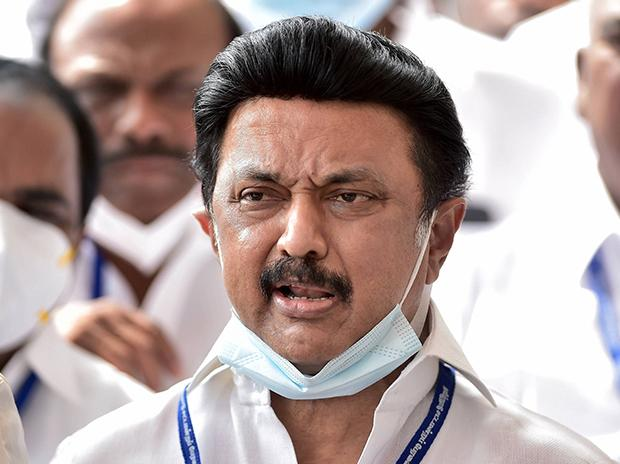 Dravida Munnetra Kazhagam (DMK) President and Leader of Opposition MK Stalin speaks to media representatives after boycotting the Governor's address and walking out from Tamil Nadu Assembly session, at Kalaivanar Arangam in Chennai. PTI