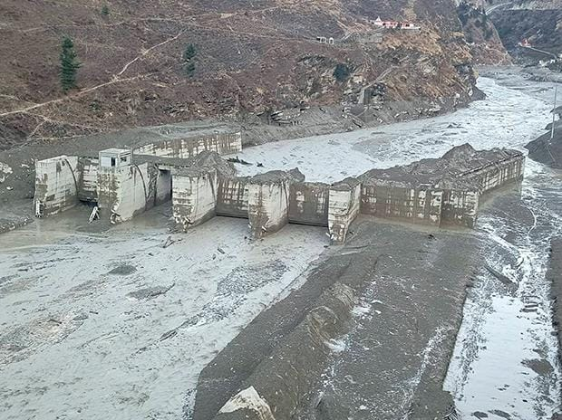 Chamoli: Damaged Dhauliganga hydropower project  after a glacier broke off in Joshimath causing a massive flood in the Dhauli Ganga river, in Chamoli district of Uttarakhand. Photo: PTI