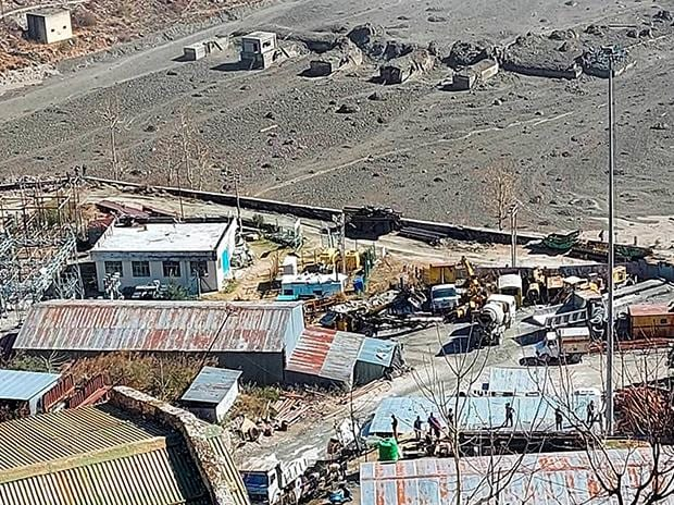 Washed away barrage of Rishi Ganga power project in Neeti valley, after a glacier broke off in Joshimath in Uttarakhand's Chamoli district causing a massive flood in the Dhauliganga river. Photo: PTI