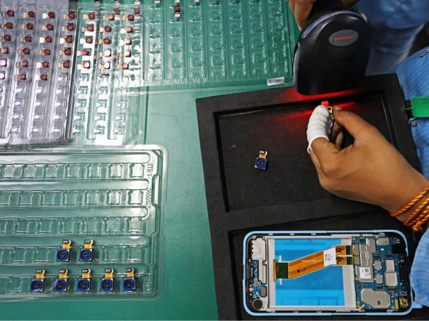 Smart phone assembley at a Dixon factory in Noida, on Jan. 28.