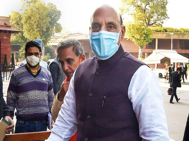 Defence Minister Rajnath Singh at Parliament, during the Budget Session in New Delhi