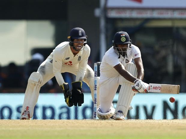 R Ashwin hits a hundred in India vs England 2nd Test at Chennai. Photo: Sportzpics for BCCI
