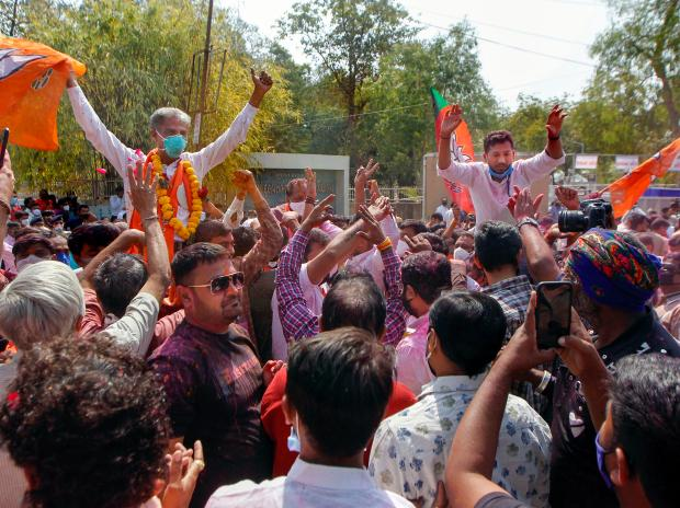 BJP supporters celebrating in Gujarat. Photo: PTI