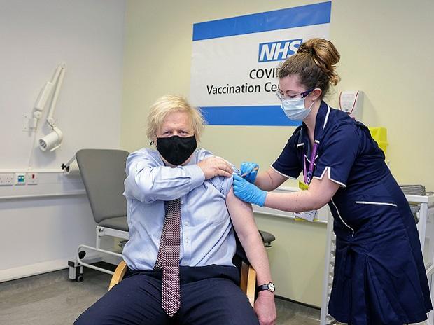 UK Prime Minister Boris Johnson gets his first dose of AstraZeneca vaccine