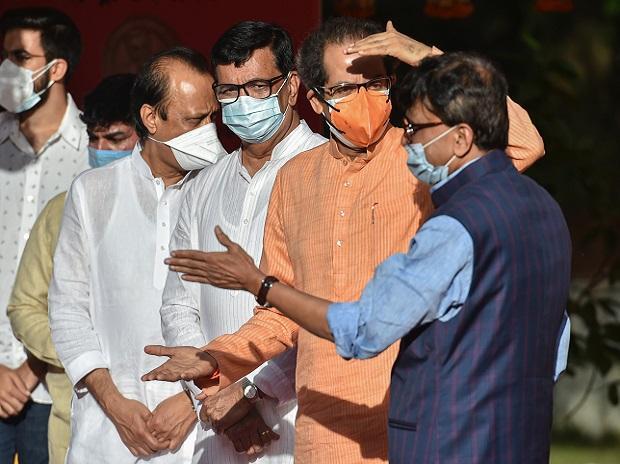 Maharashtra Chief Minister Uddhav Thackeray, Rajya Sabha MP Sanjay Raut, Deputy Chief Minister Ajit Pawar and State Revenue Minister Balasaheb Thorat (Photo: PTI)