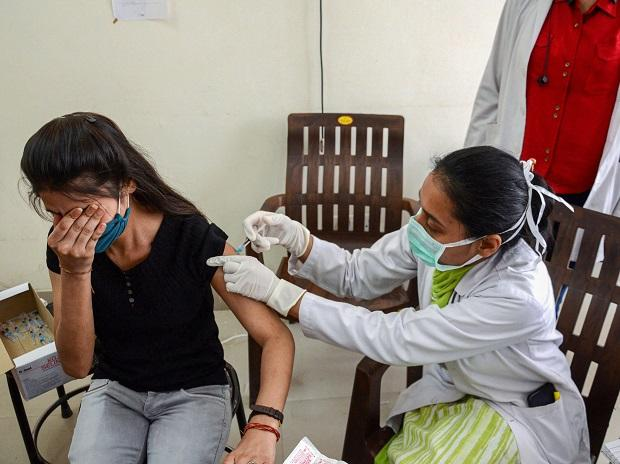 Amritsar: A medical worker inoculates a woman with a dose of COVID vaccine, in Amritsar, Saturday, April 3, 2021. (PTI Photo)