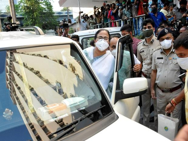 West Bengal CM Mamata Banerjee leaves the CBI office at Nizam Palace where she had come following the arrest of TMC ministers and MLAs in a scam case, in Kolkata (Photo: PTI)