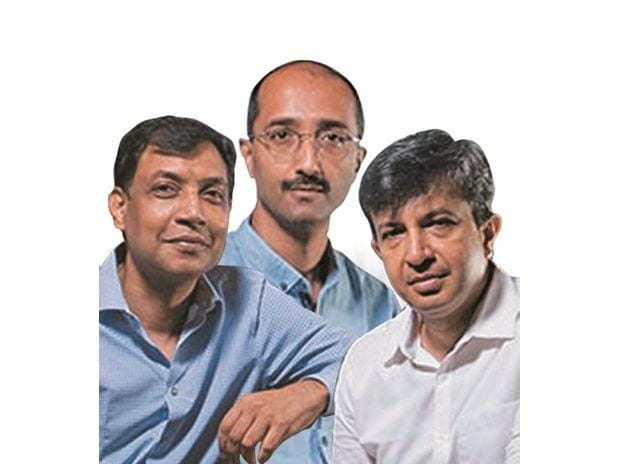 BillDesk —founded by (from left) M N Srinivasu, Karthik Ganapathy, and Ajay Kaushal — was acquired for $4.7 billion by PayU in one of the largest deals in the payments industry